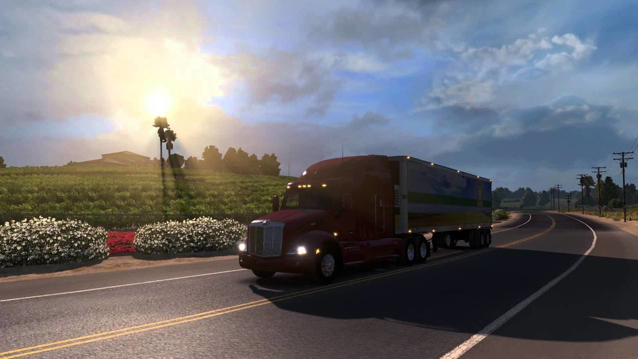 American Truck Simulator gameplay screenshot -  truck on the road, the sun is shining