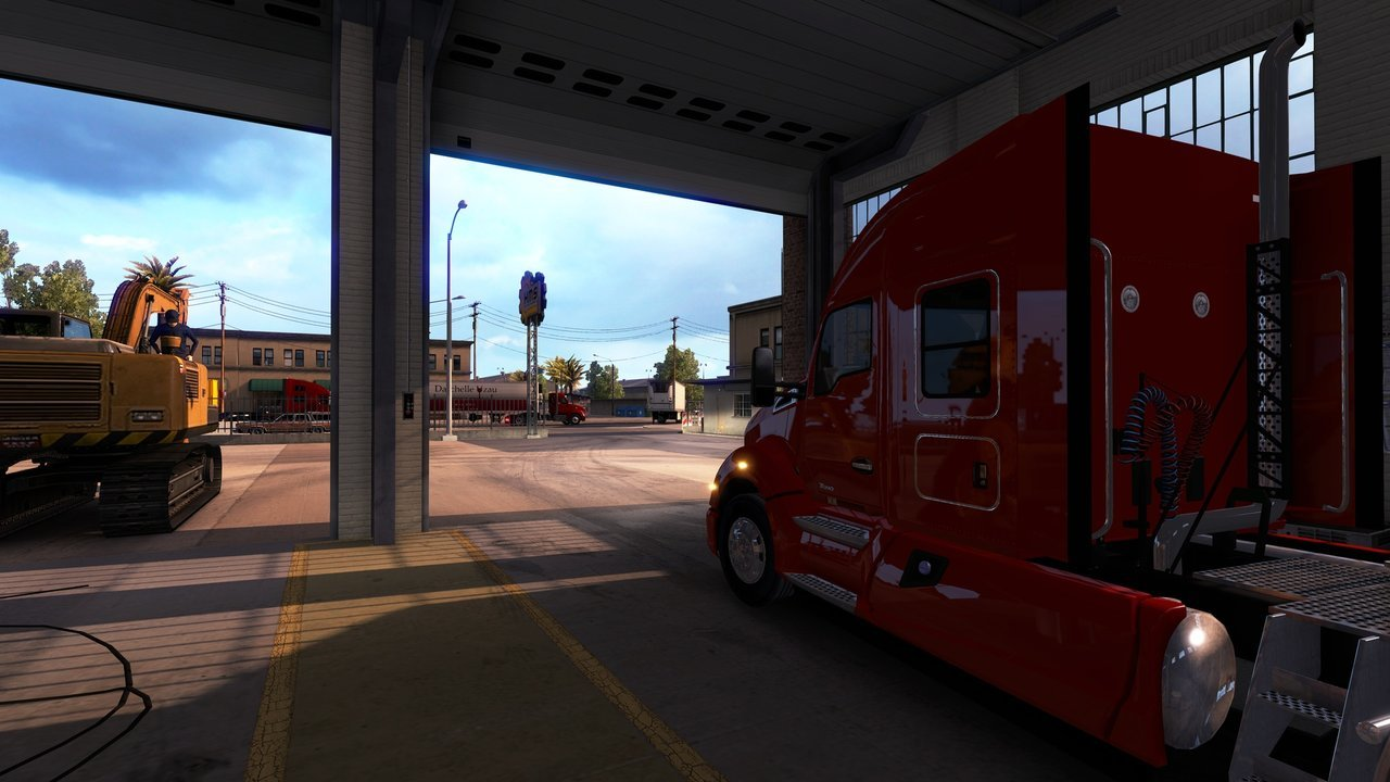 American Truck Simulator gameplay screenshot -  truck in the garage