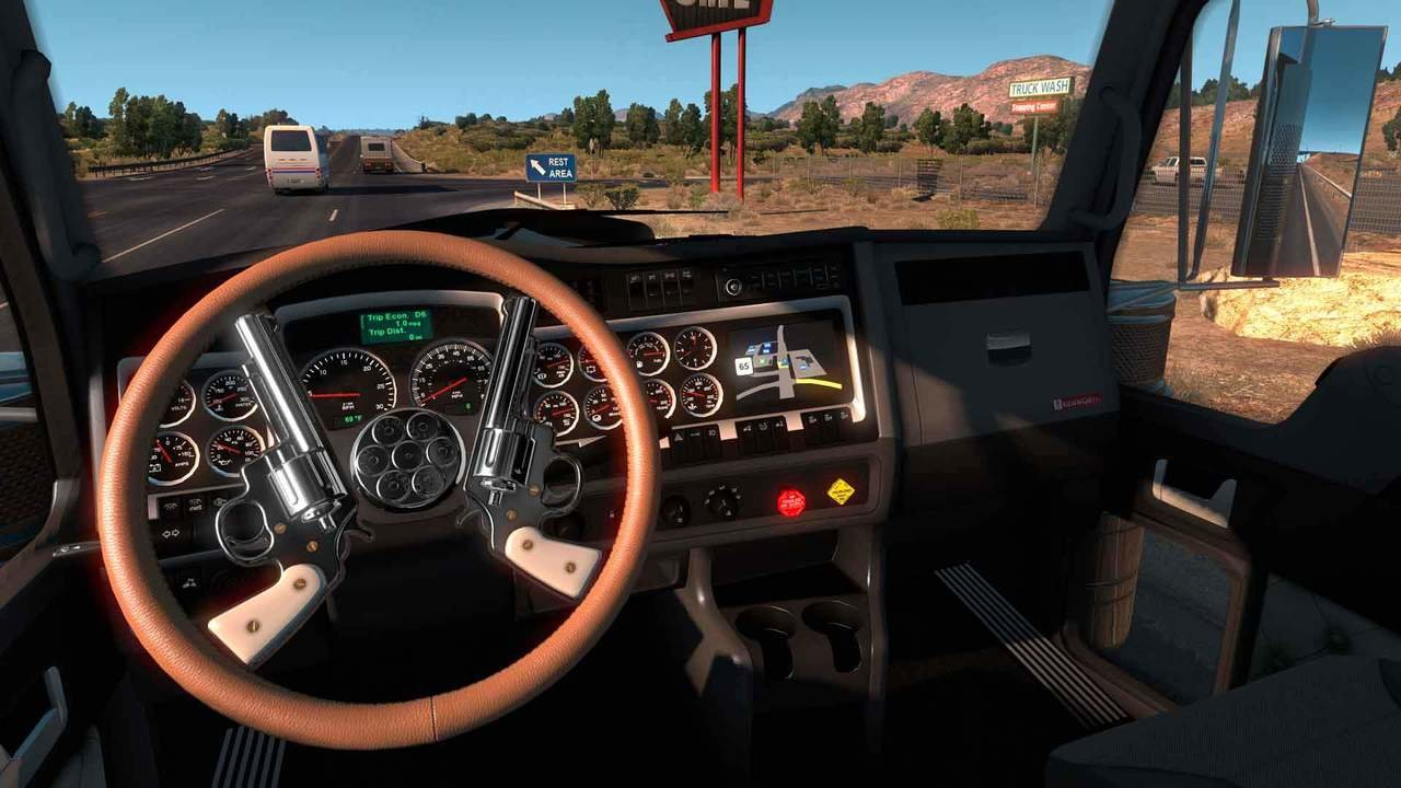 American Truck Simulator gameplay screenshot -  driver POV