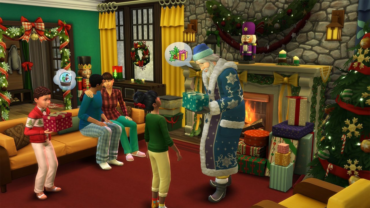 Sims 4 gameplay screenshot - family sitting on the sofa and Santa Claus
